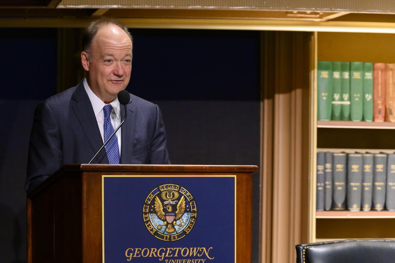 President John J. DeGioia introduces Carolyn Forché.