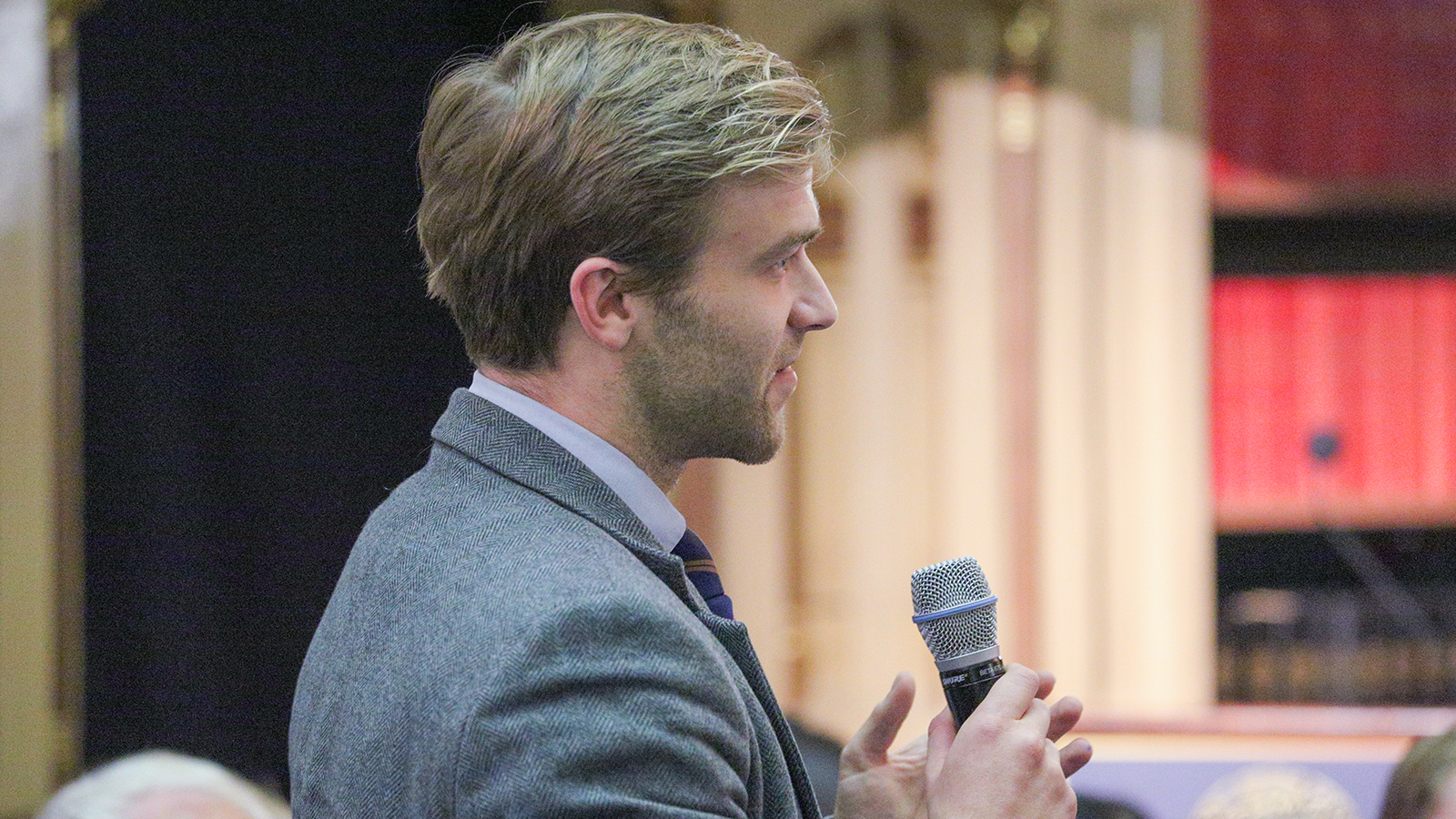 Berkley Center visiting research fellow, Tobias Cremer, asks a question during audience Q&A.