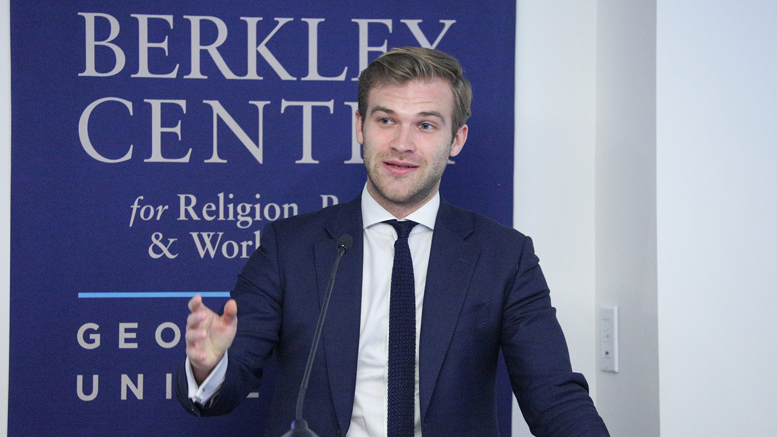 Tobias Cremer, visiting researcher at the Berkley Center, presents on national populism and religion in the West.