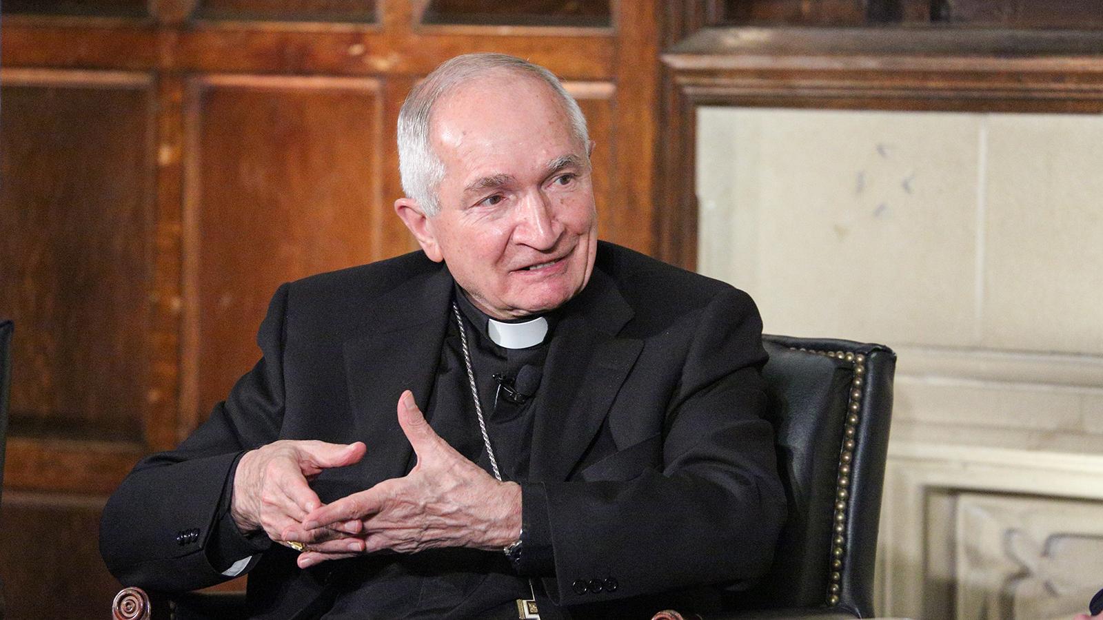 Archbishop Silvano Tomasi in conversation.