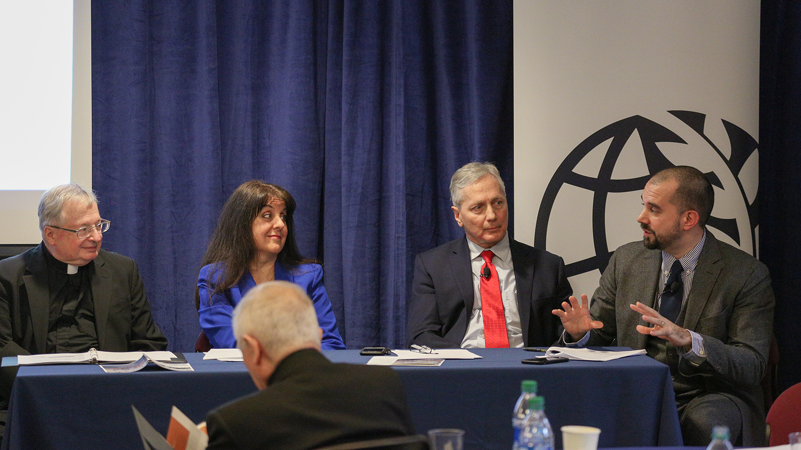"""Ethics and Pastoral Guidance"" panel: Rev. Drew Christiansen, Maryann Cusimano-Love, Gerard Powers, Alessio Pecorario."