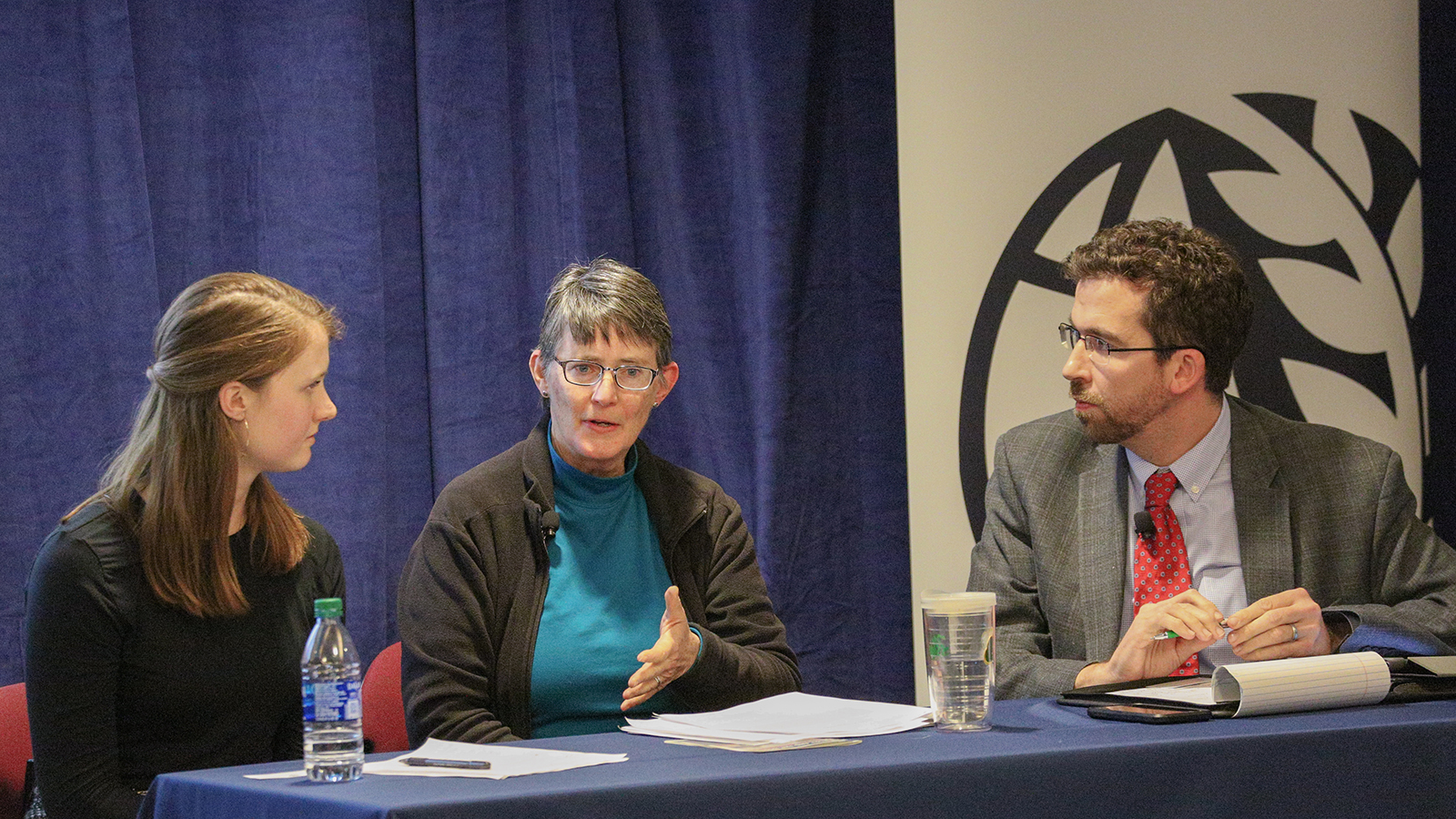 """Conscience Formation and Public Education"" panel featuring Erin Connolly, Margaret Pfeil, and Kevin Ahern."