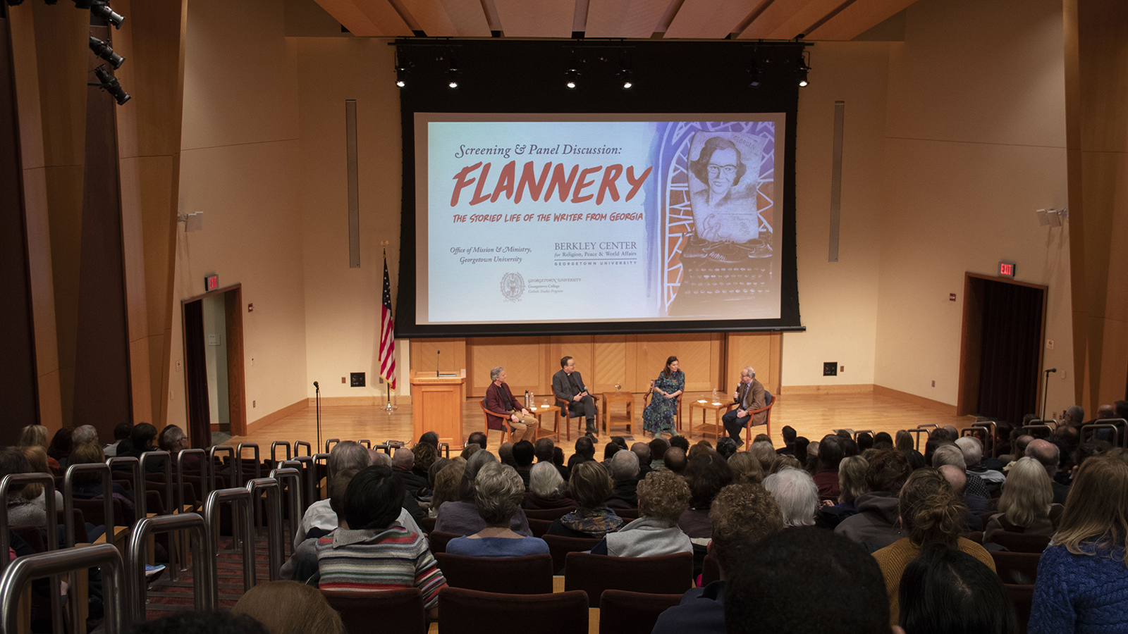 Rev. Mark Bosco, S.J., Elizabeth Coffman, Paul Elie, and Ted Hardin discuss the documentary about Flannery O'Connor.