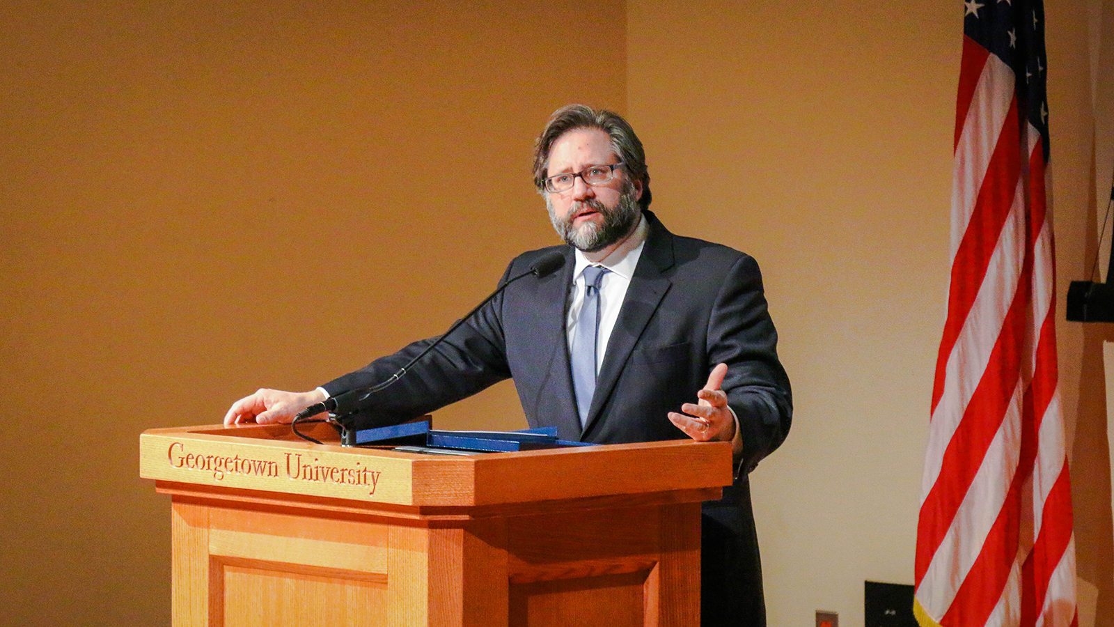 Jon Parrish Peede, chair of the National Endowment for the Humanities, offers opening remarks.
