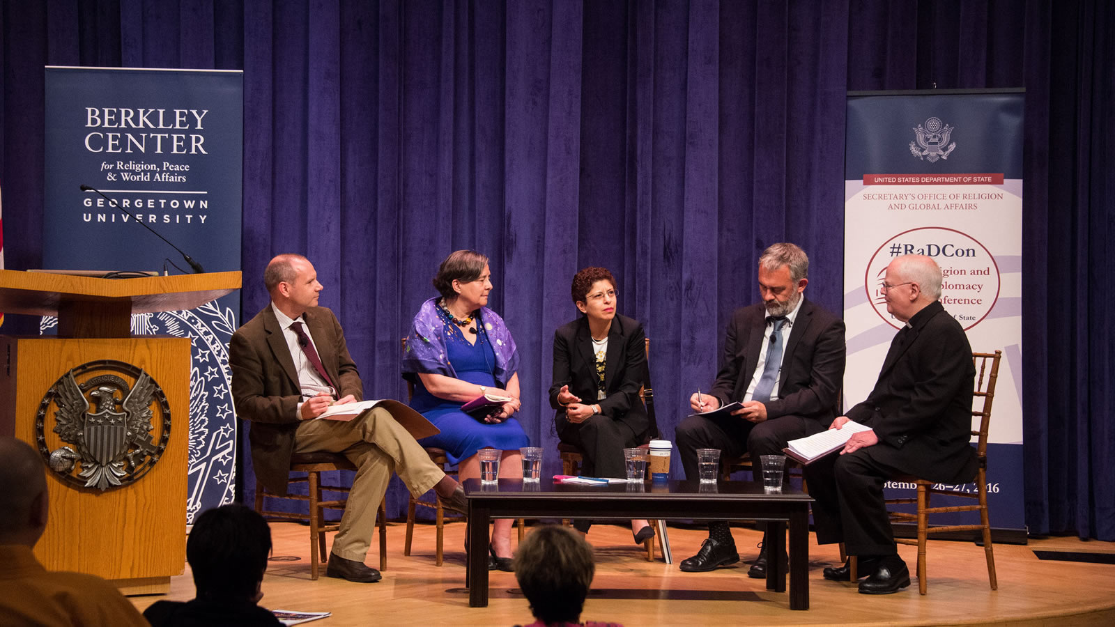 Panelists discuss the role of religious actors in achieving the UN's Sustainable Development Goals.