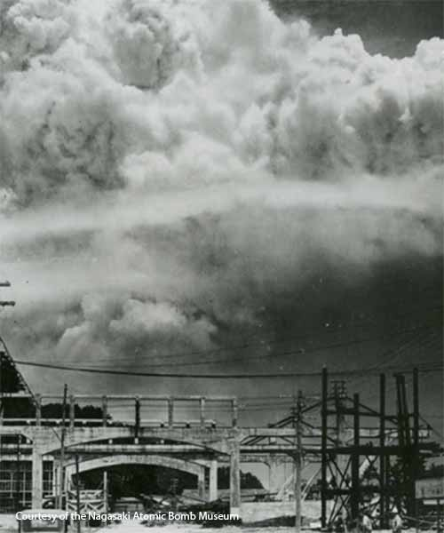 Atomic bomb exploding over Nagasaki. Photo courtesy of the Nagasaki Atomic Bomb Museum.