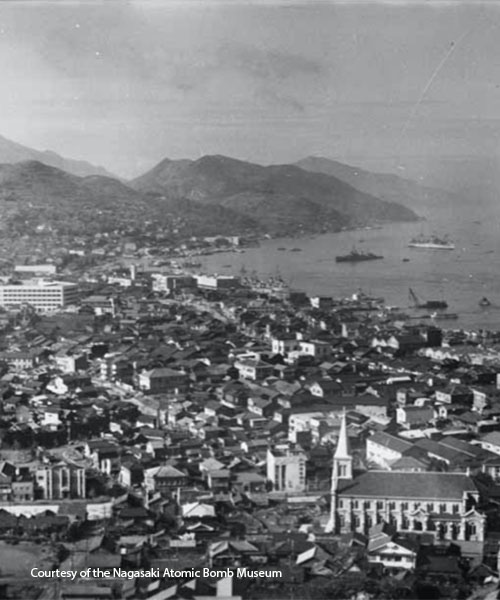Aerial view of Nagasaki before the bombing. Photo courtesy of the Nagasaki Atomic Bomb Museum.