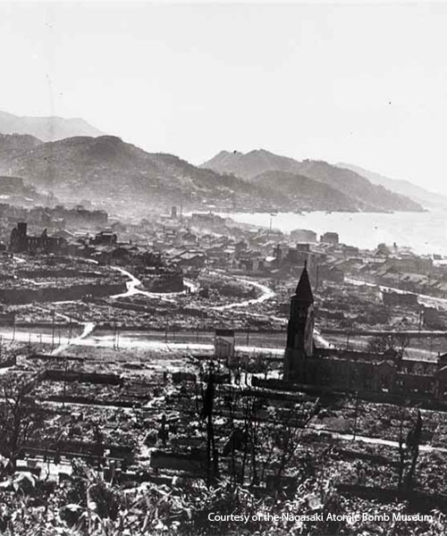 Aerial view of Nagasaki after the bombing. Photo courtesy of the Nagasaki Atomic Bomb Museum.