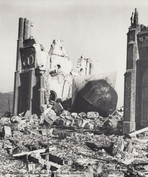 Destruction of Urakami Church. Photo courtesy of the Nagasaki Atomic Bomb Museum.