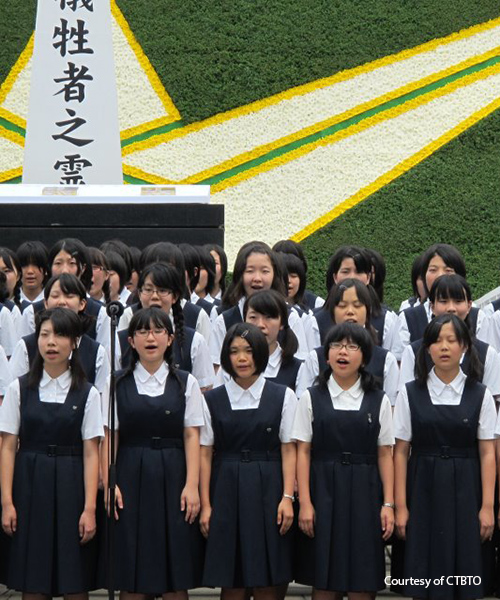 "Junshin high school students singing ""One Thousand Paper Cranes"" for the 67th anniversary of the bombing. From CTBTO."