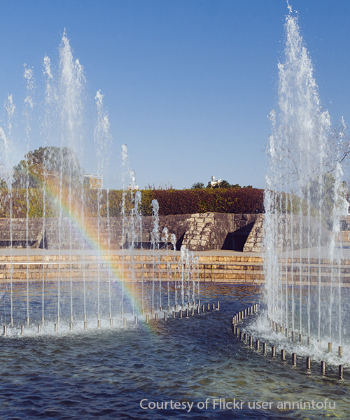 Fountain of Peace at the Nagasaki Peace Park. Photo courtesy of Flickr user annintofu.