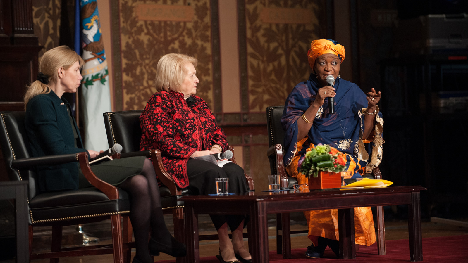 Zainab Hawa Bangura speaks as part of a panel discussion with Alissa Rubin and Melanne Verveer.