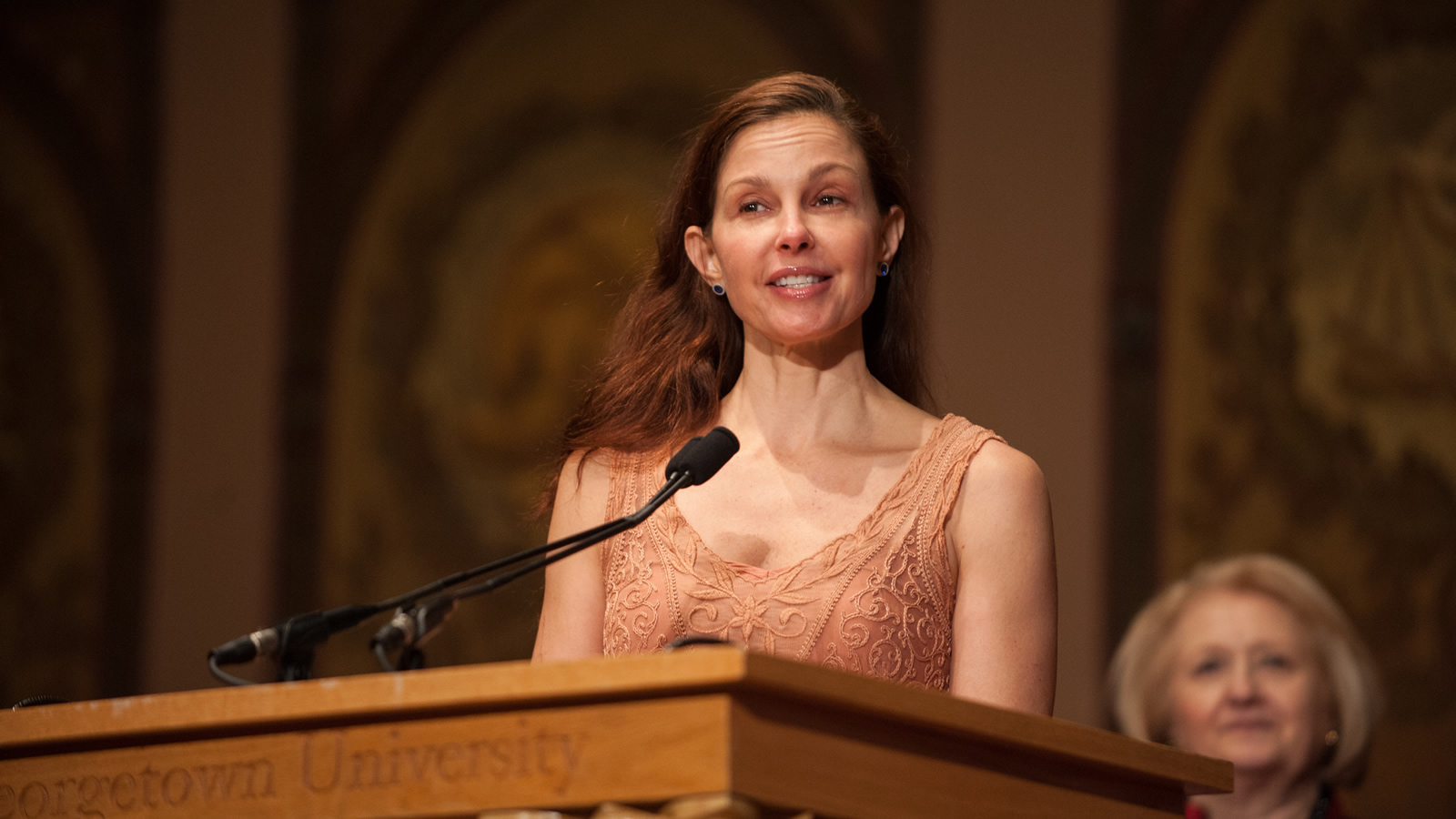 Ashley Judd provides closing remarks.