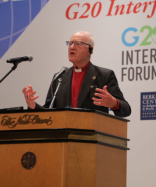 Lord Carey of Clifton, 103rd Archbishop of Canterbury, was one of many faith leaders from diverse traditions.