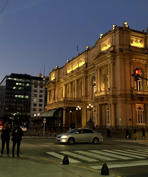 This is a photo taken outside of Teatro Cólon (Colombus Theatre), the main opera house in Buenos Aires. It is considered one of the best opera houses in the world, and often hosts performances by the Buenos Aires Philharmonic.