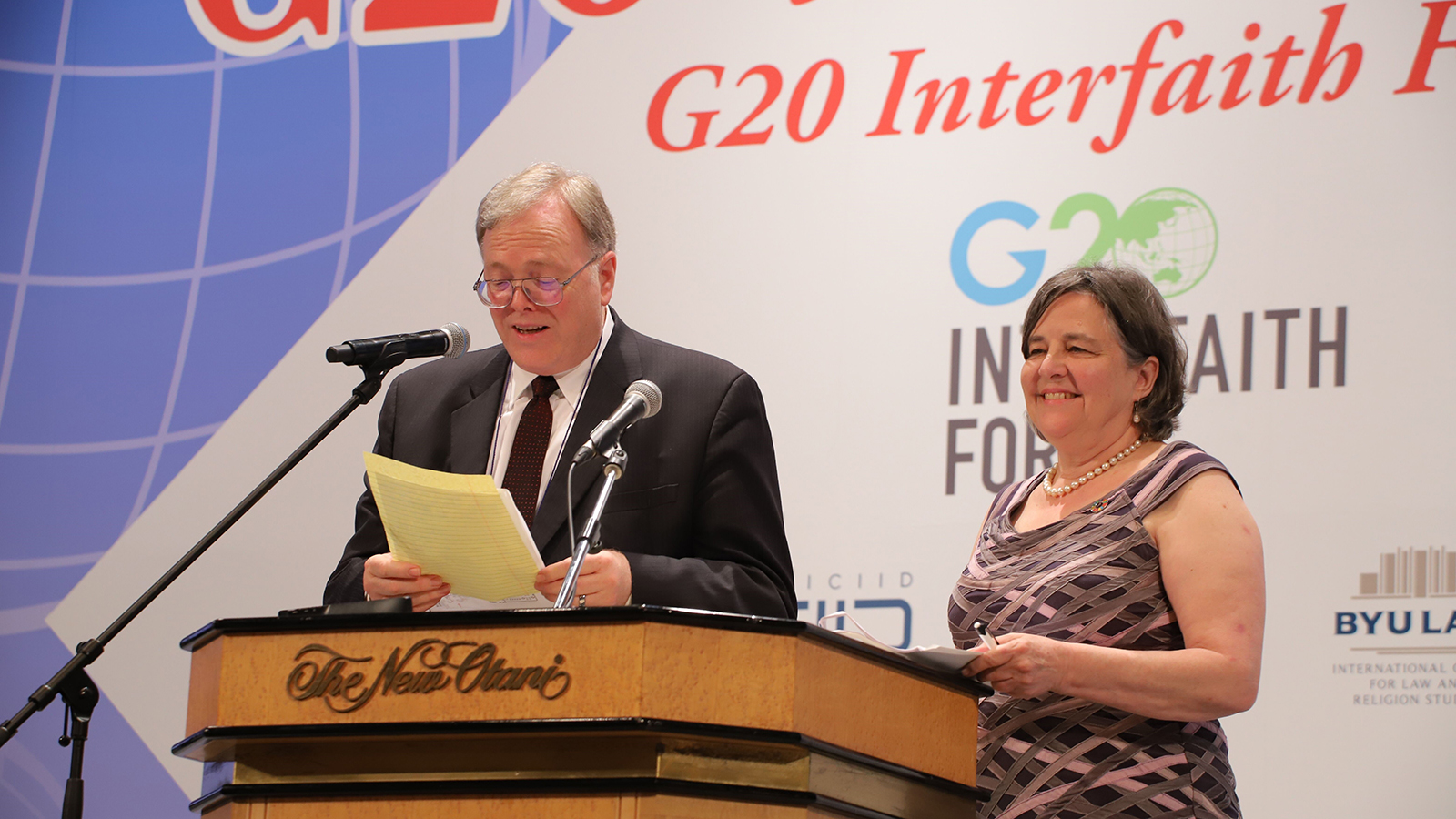 Cole Durham and Katherine Marshall presenting at the 2019 G20 Interfaith Forum