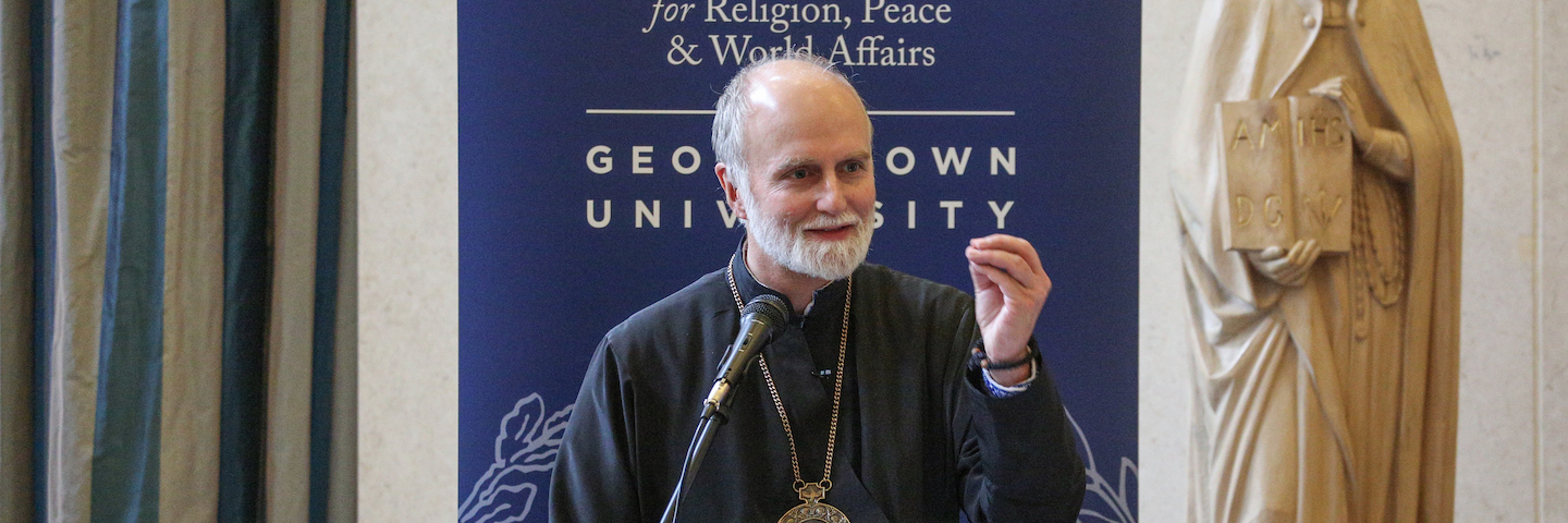 The Most Rev. Borys Gudziak lectures to event attendees.
