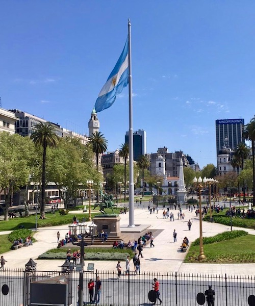 A central square in Buenos Aires.