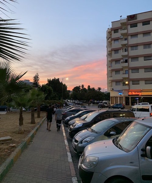 Sunset on a street in Meknes, Morocco.