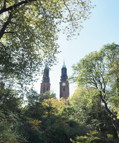 The church located right outside the front gates of the author's apartment complex in Södermalm, Sweden.