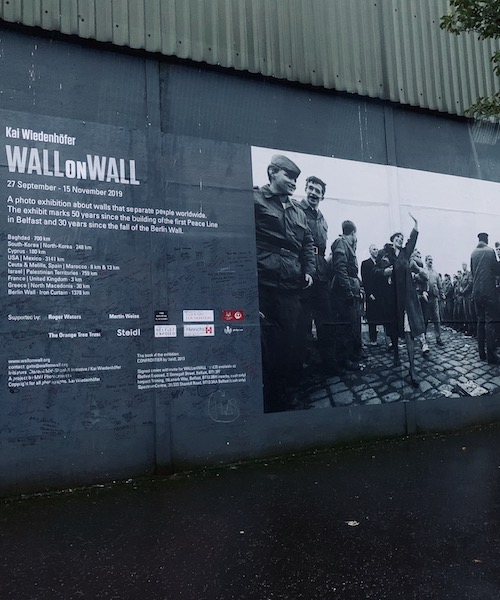 The Peace Wall separating the largest Irish Catholic and British Protestant neighborhoods in Belfast
