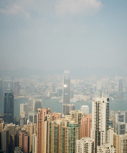 A view of the Hong Kong skyline from the city's famous tourist spot Victoria Peak.