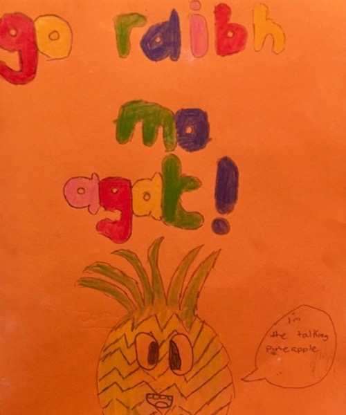 A thank you card that students made for the author.