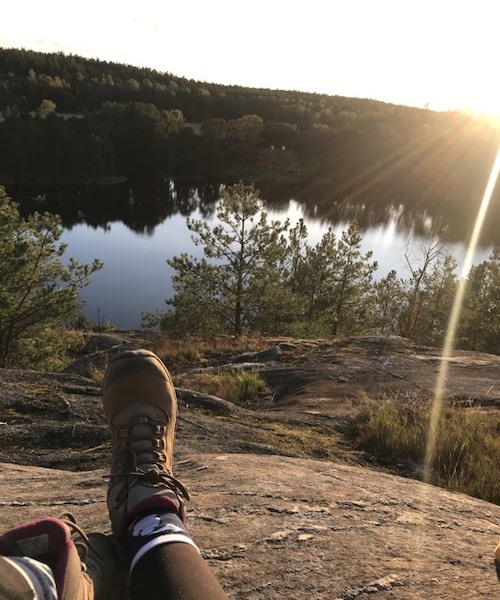 A view of the author's mountain hike outside of Stockholm, Sweden.