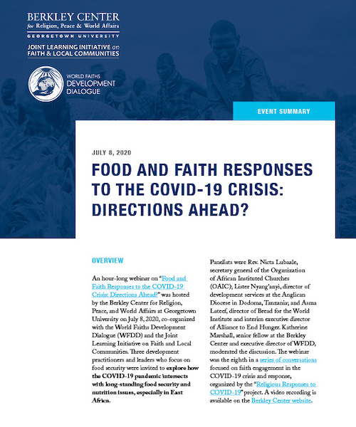 Food and Faith Responses to the COVID-19 Crisis: Directions Ahead?