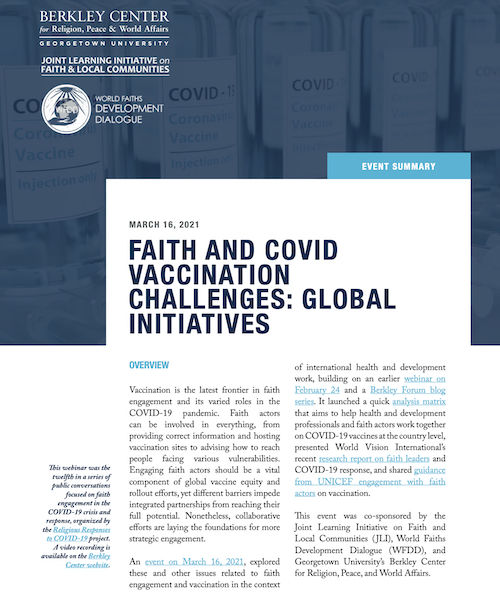 Faith and COVID Vaccination Challenges: Global Initiatives