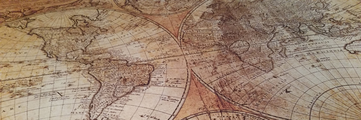 Brown antique map of the world
