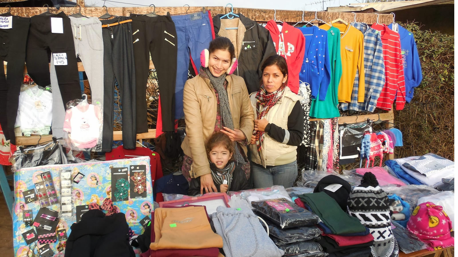 Cold Weather Clothing Stall in Argentina