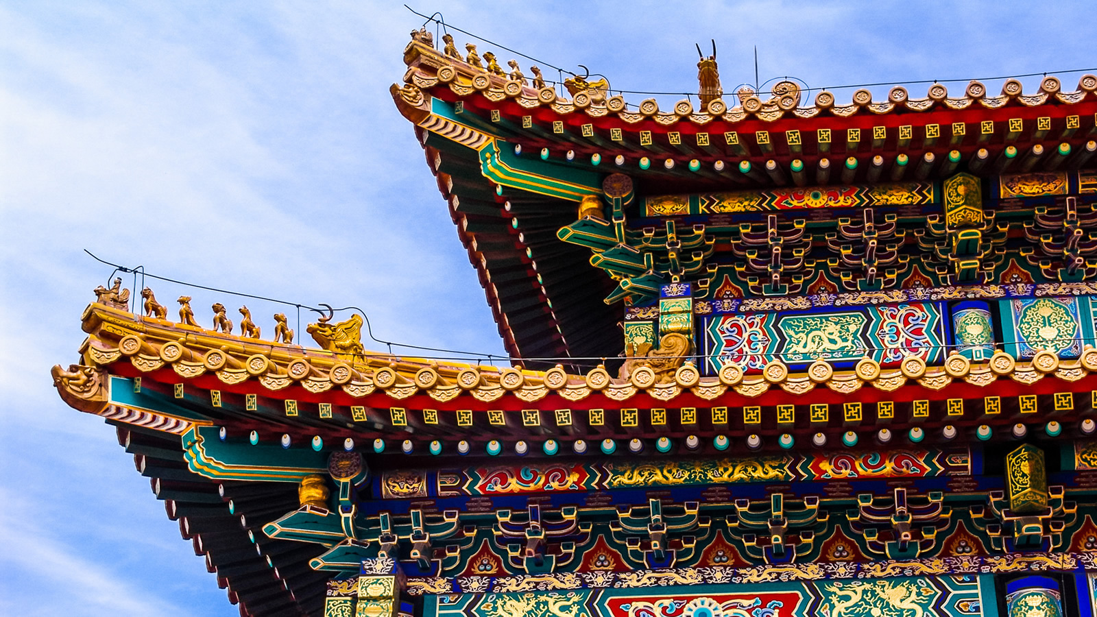 Asian Building with Colorful and Intricate Facade