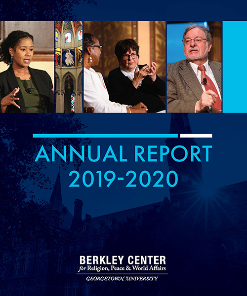 report cover with images of event speakers and background image of Healy Hall