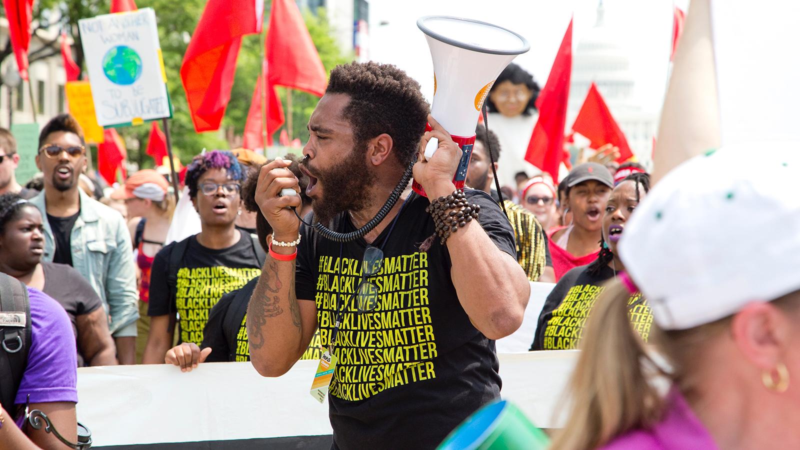 Black Lives Matter Protester with megaphone