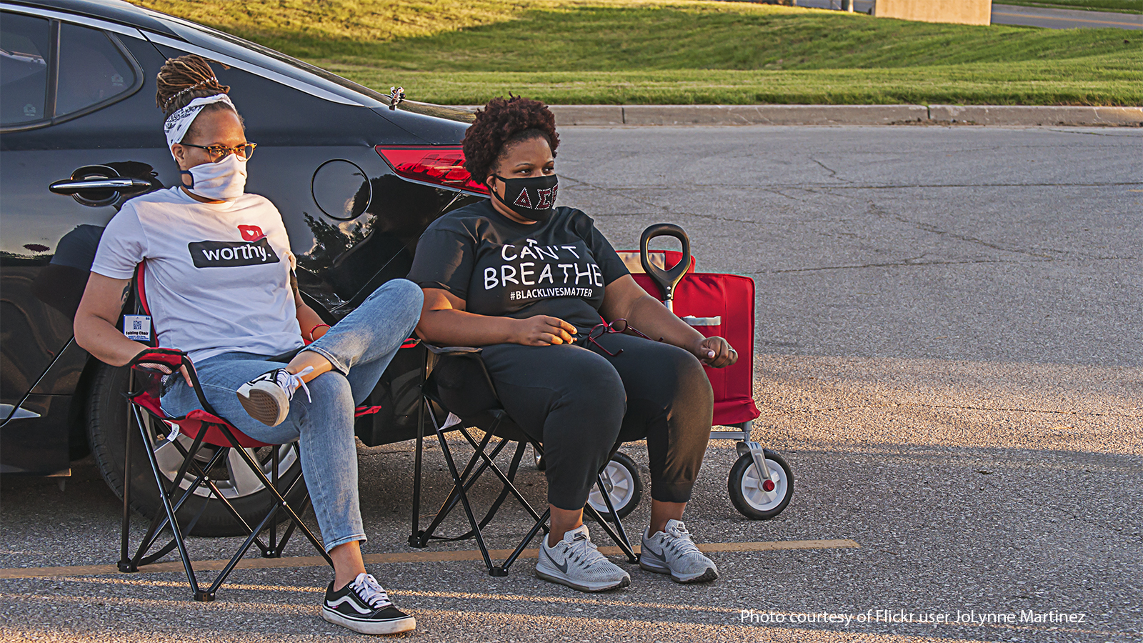 Black women during a Black Lives Matter protest in July 2020.