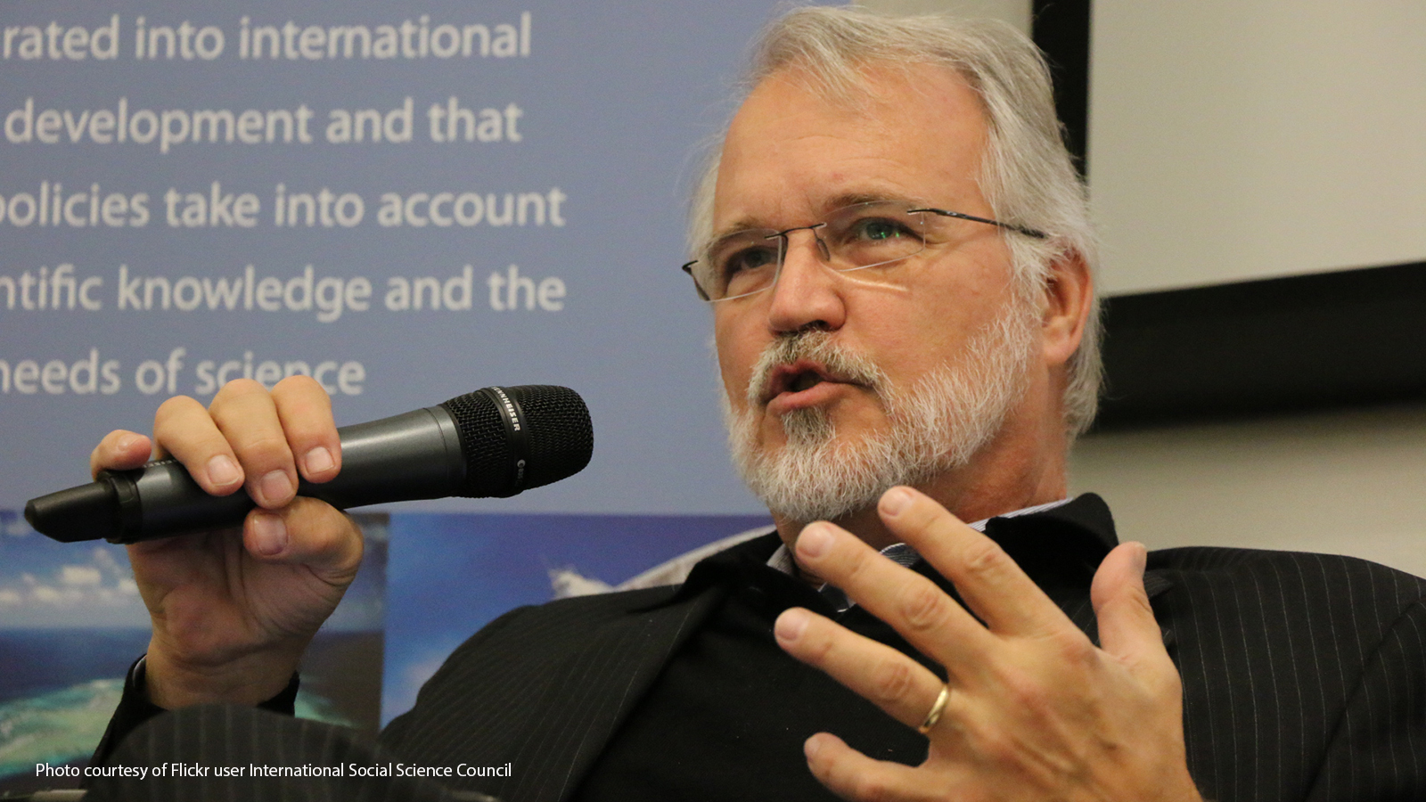Craig Calhoun speaking at a strategy workshop in 2017.