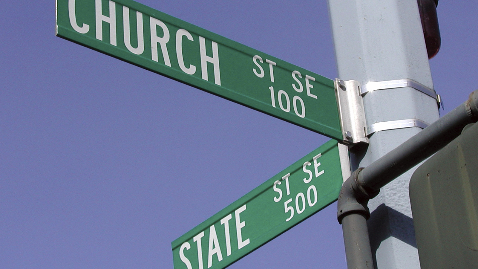 Church and State Street Signs Intersecting