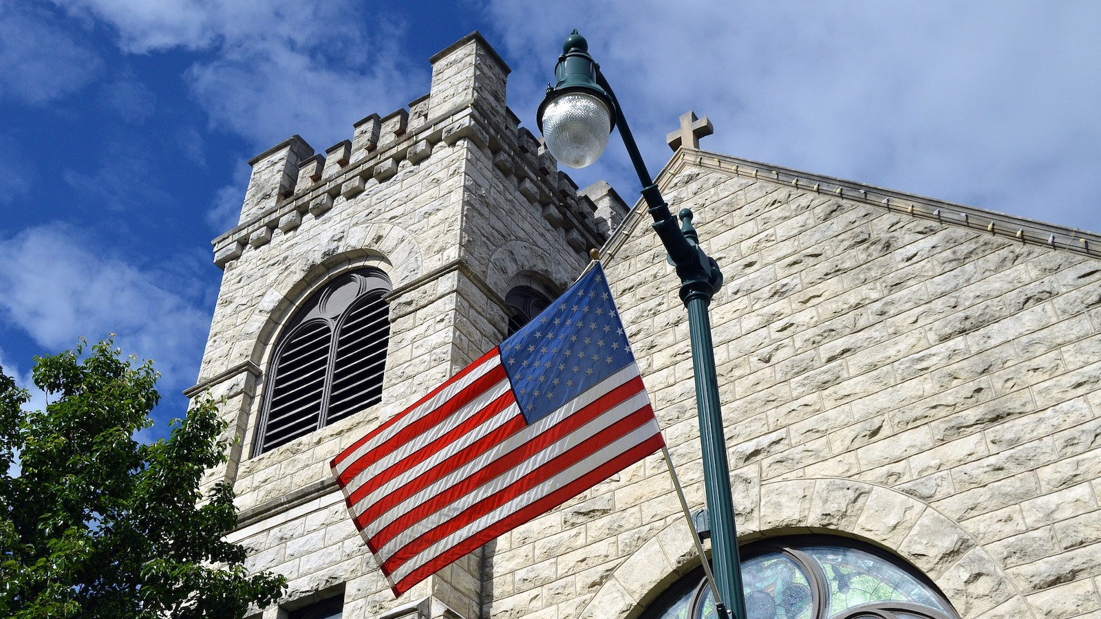 Church with an American flag outside.