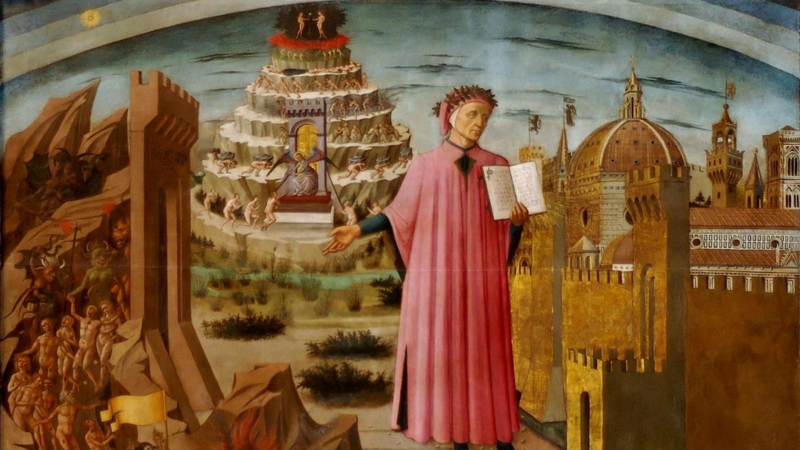 """Domenico di Michelino, """"The Comedy Illuminates Florence,"""" 1465, fresco. Public domain image."""