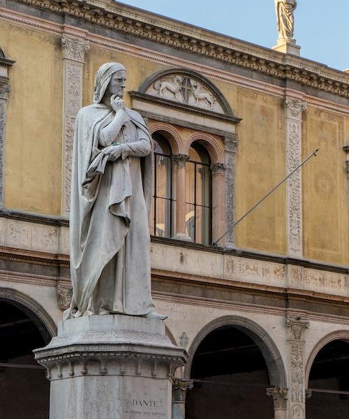 A stone statue of Dante in Verona, Italy