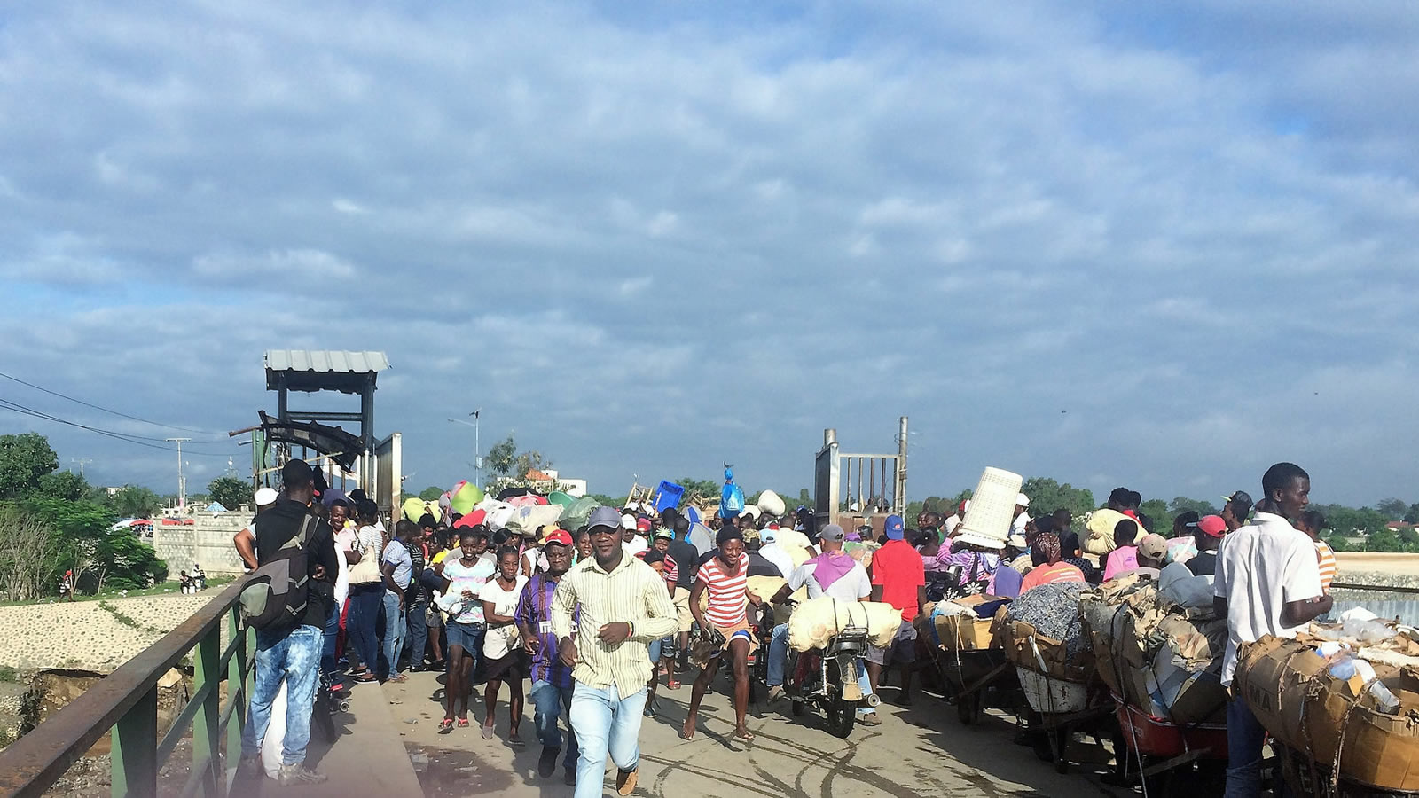 Crowd of People at a Dominican Republic-Haiti Border Crossing