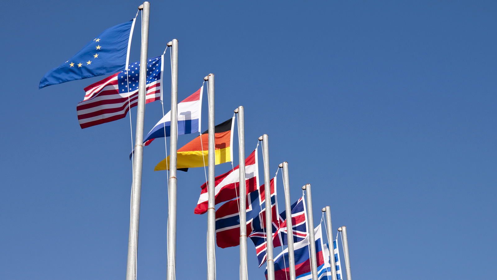 Flags of the European Union, United States, and Other European Nations