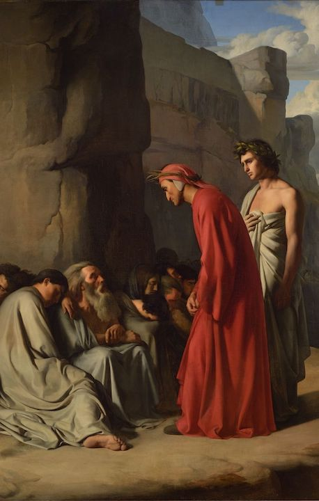 """Hippolyte Flandrin, """"Dante, Led by Virgil, Offers Consolations,"""" 1835, oil on canvas. Public domain image."""
