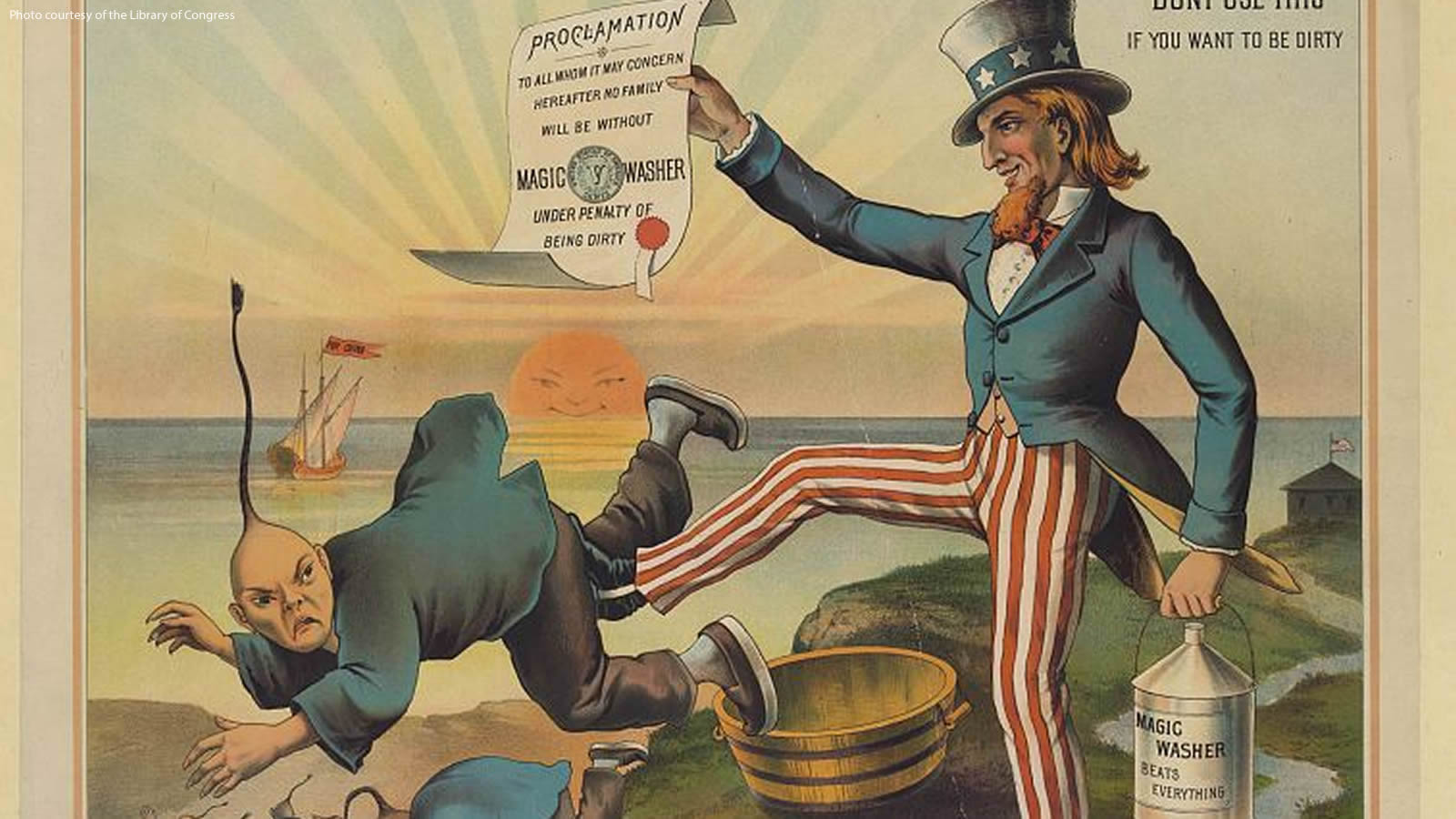 Uncle Sam kicking a Chinese man out of the United States