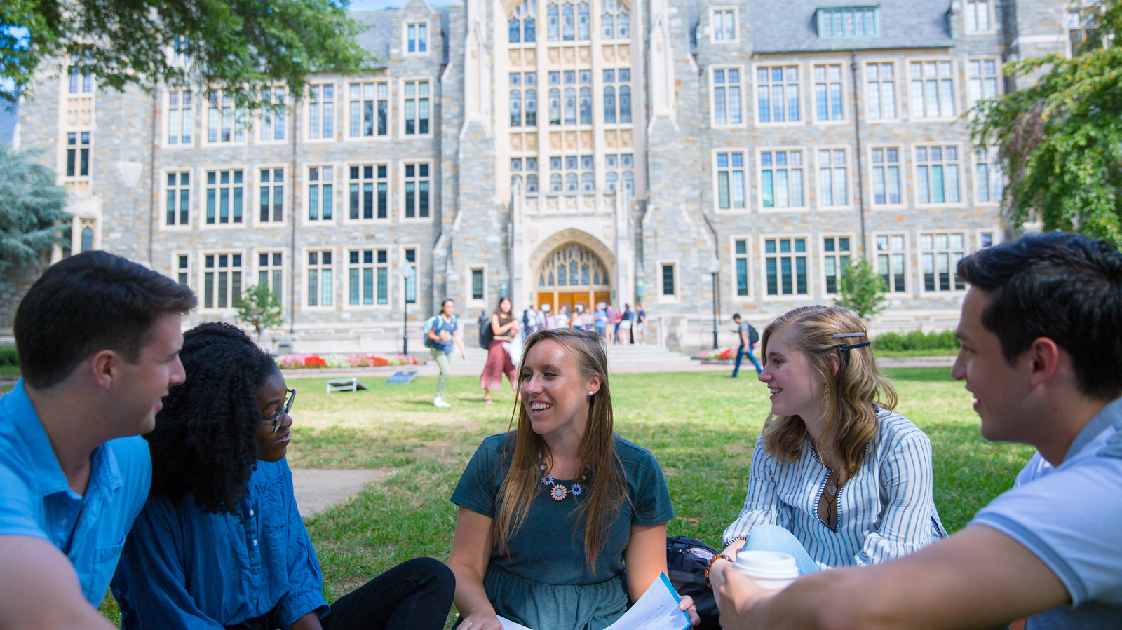 Georgetown students talking in front of White-Gravenor Hall