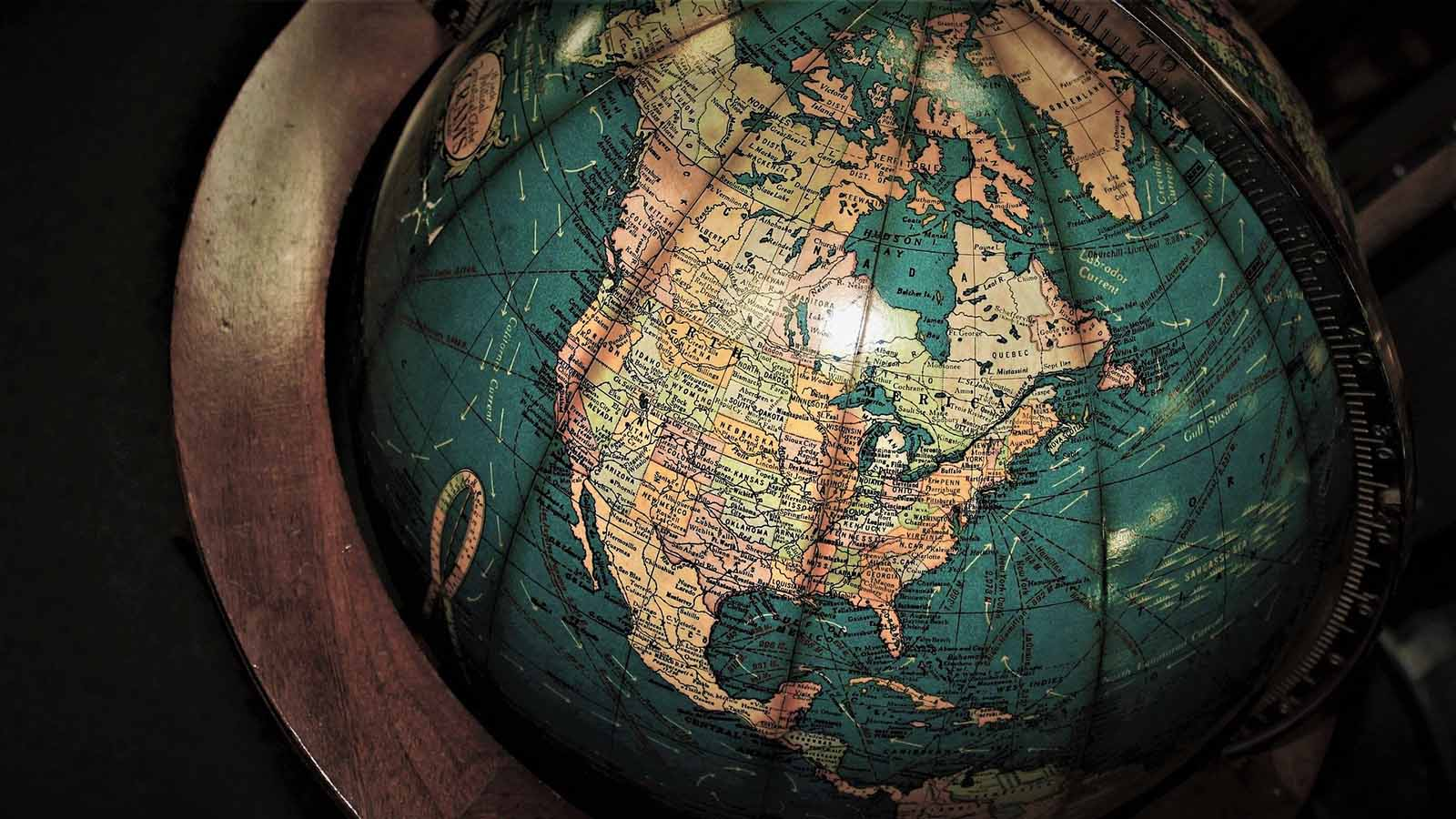 Globe focused on map of North America.