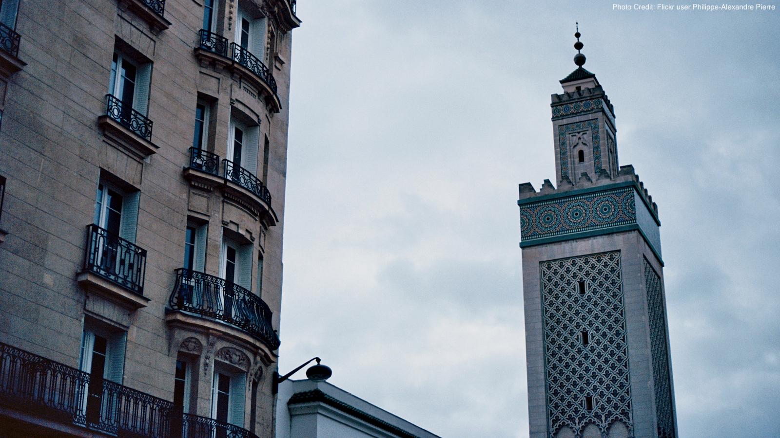 Minaret of the Grand Mosque in Paris