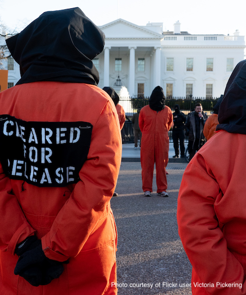 Guantánamo Bay detention camp protestors in front of the White House in 2019.