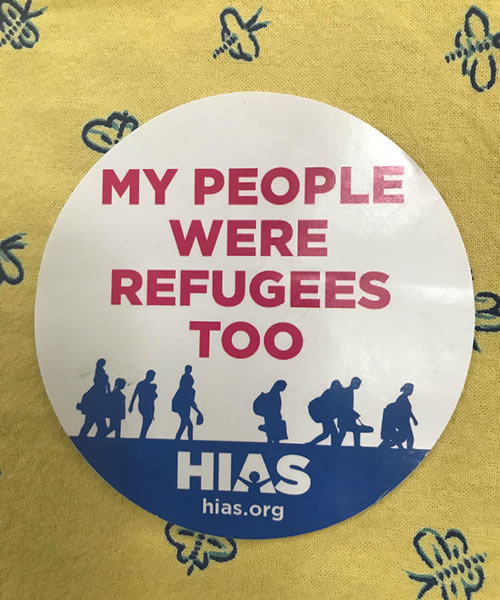"HIAS Button with ""My People Were Refugees Too"""